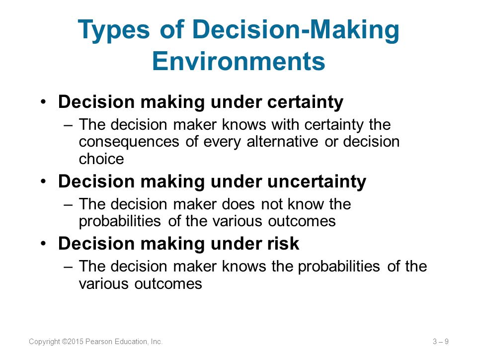 Types of Decision-Making Environments