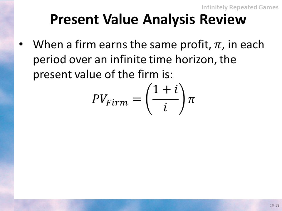 Present Value Analysis Review