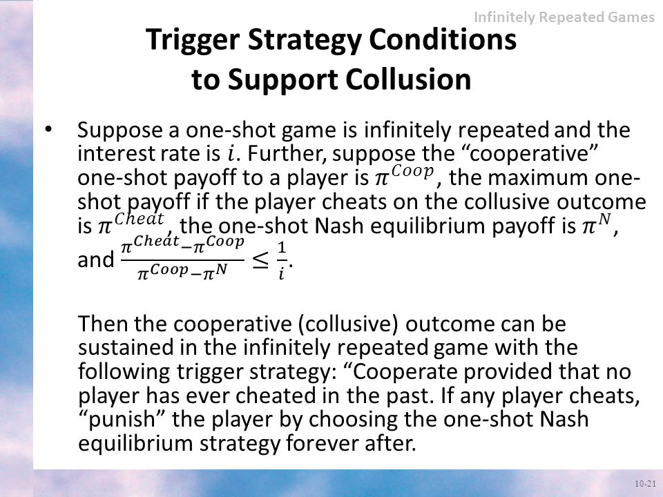 Trigger Strategy Conditions to Support Collusion