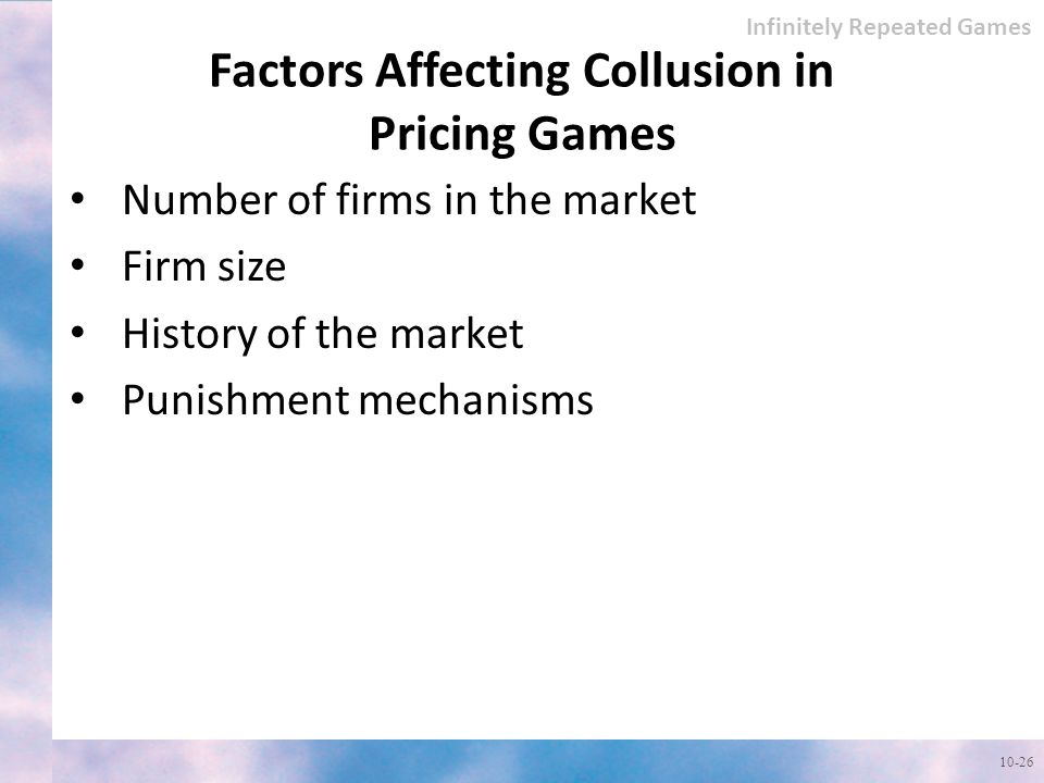 Factors Affecting Collusion in Pricing Games