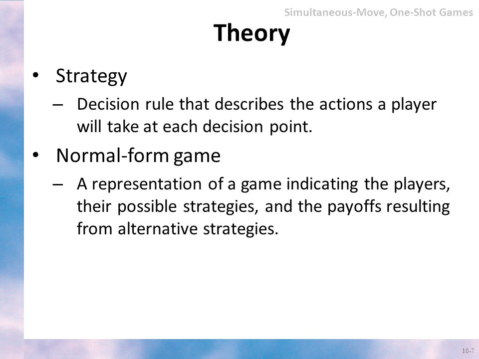 Theory Strategy Normal-form game