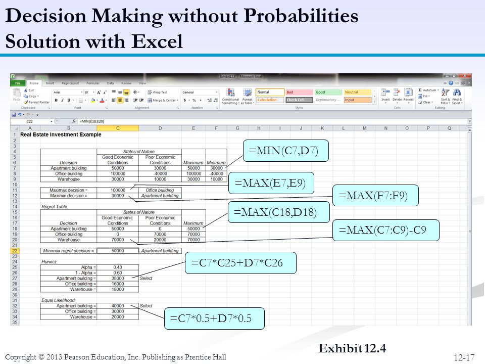 Decision Making without Probabilities Solution with Excel