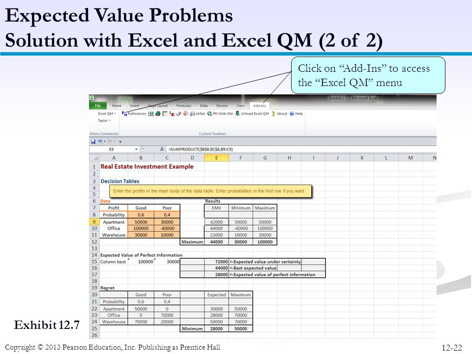 Expected Value Problems Solution with Excel and Excel QM (2 of 2)