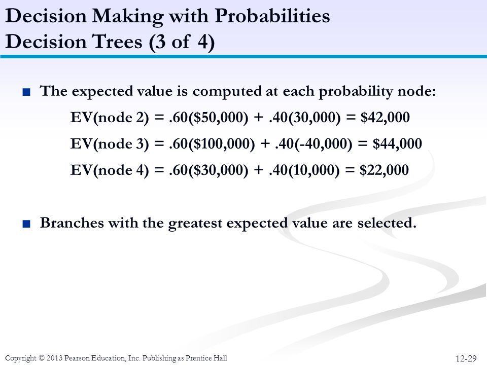 Decision Making with Probabilities Decision Trees (3 of 4)