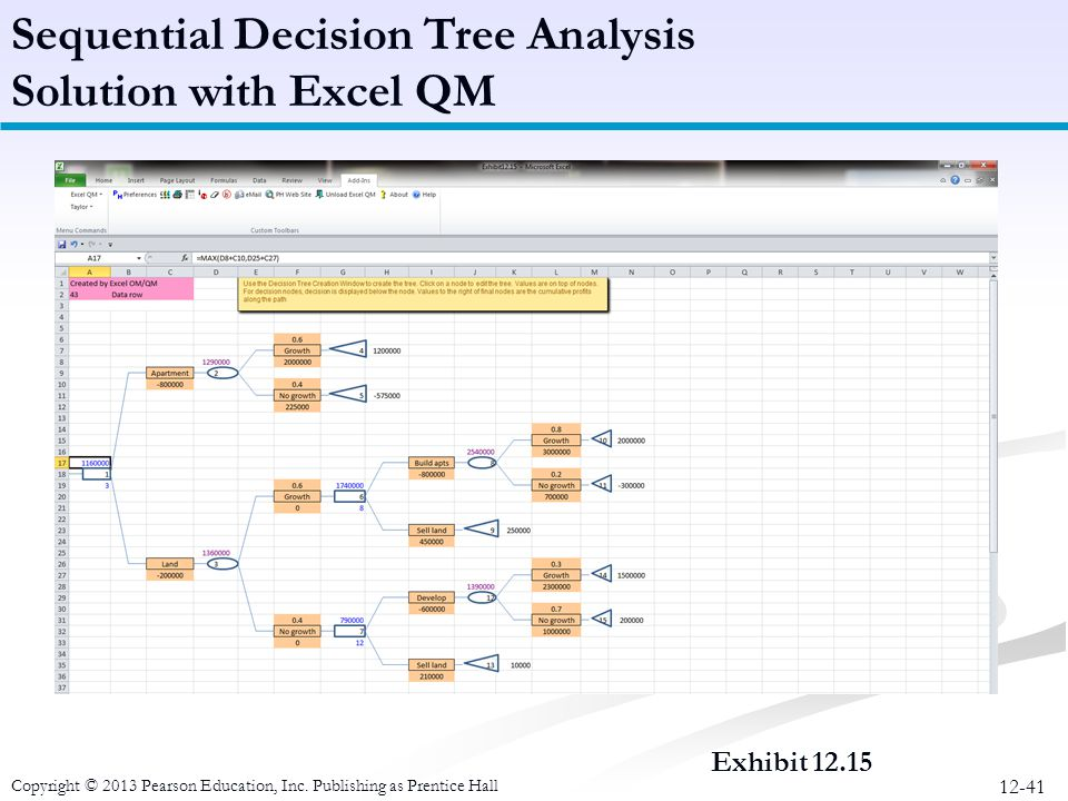 Sequential Decision Tree Analysis Solution with Excel QM