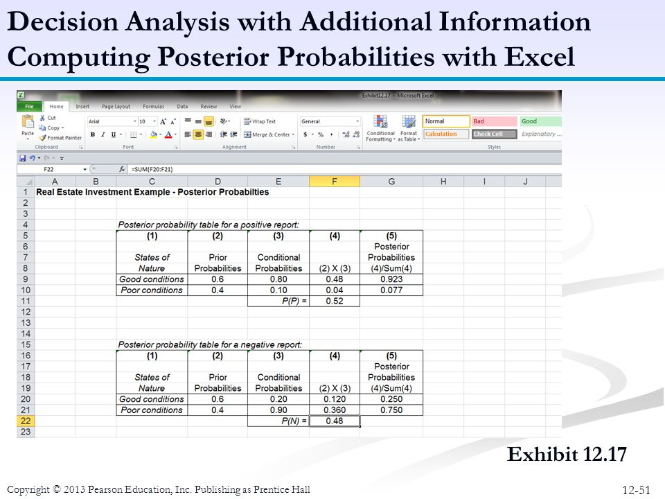 Decision Analysis with Additional Information Computing Posterior Probabilities with Excel
