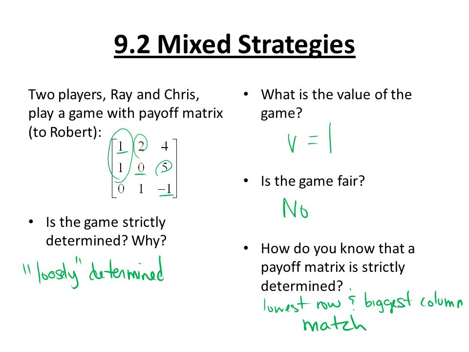 9.2 Mixed Strategies Two players, Ray and Chris, play a game with payoff matrix (to Robert): Is the game strictly determined Why