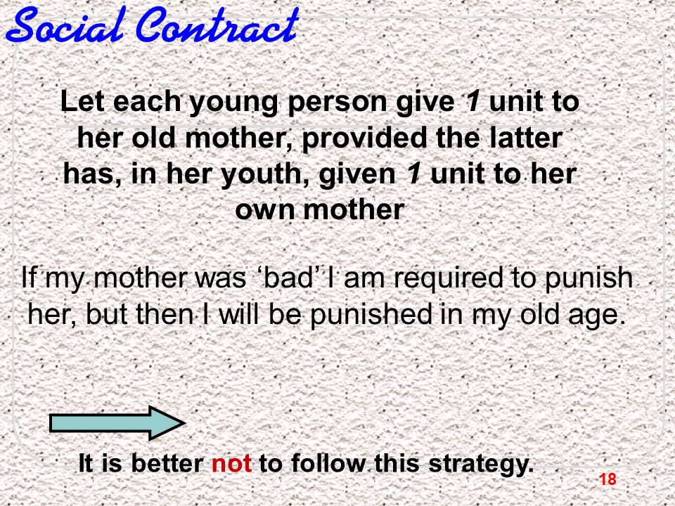Social Contract Let each young person give 1 unit to her old mother, provided the latter has, in her youth, given 1 unit to her own mother.