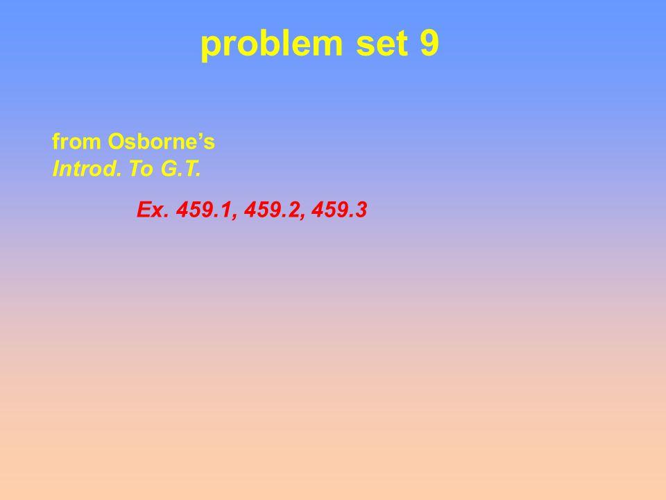problem set 9 from Osborne's Introd. To G.T. Ex. 459.1, 459.2, 459.3