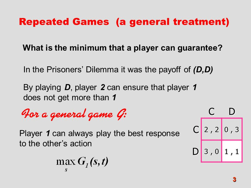 For a general game G: Repeated Games (a general treatment) C D