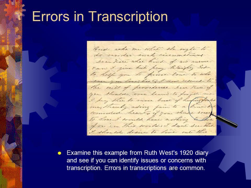 Errors in Transcription
