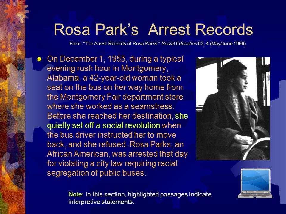 Rosa Park's Arrest Records