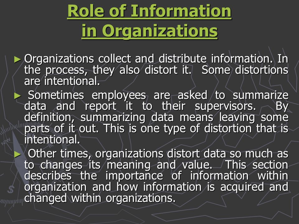 Role of Information in Organizations