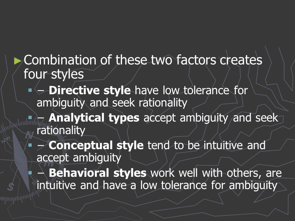 Combination of these two factors creates four styles