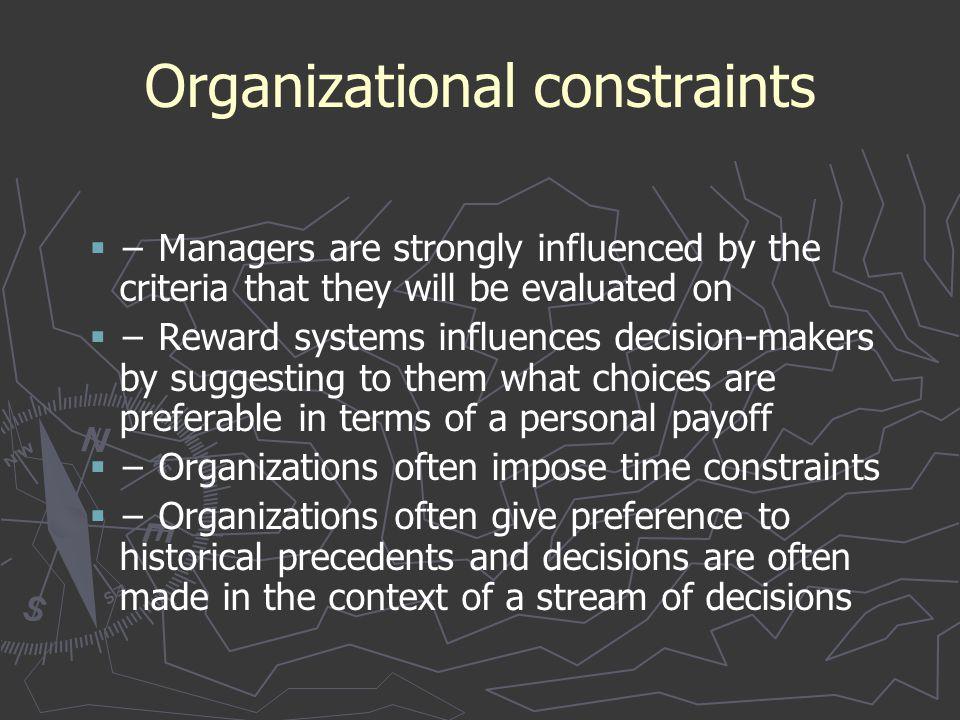 Organizational constraints