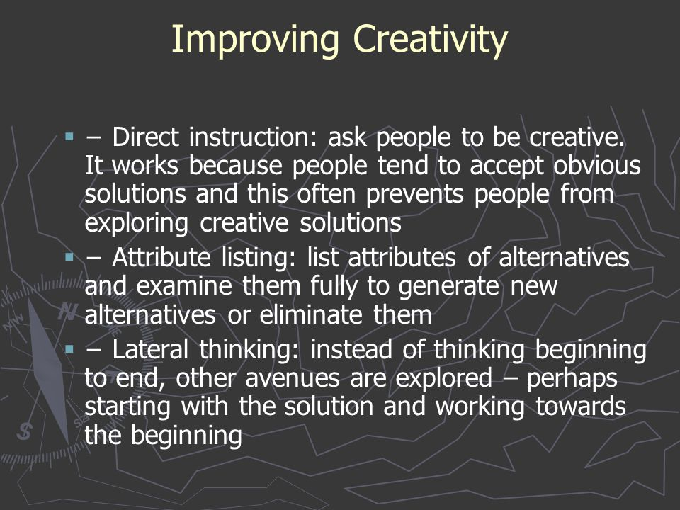 Improving Creativity