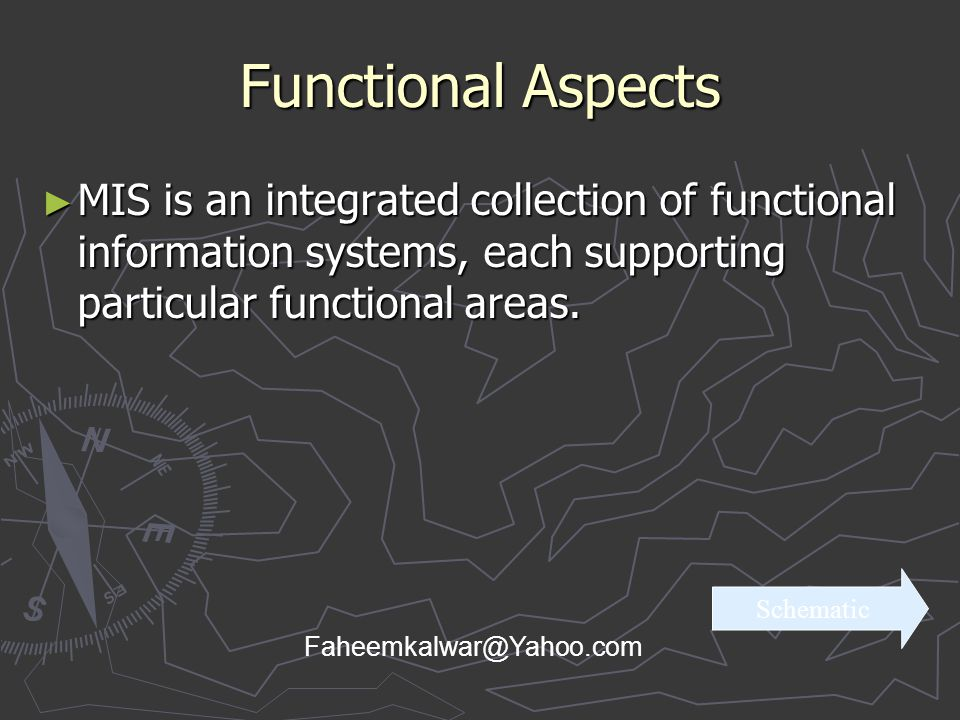 Functional Aspects MIS is an integrated collection of functional information systems, each supporting particular functional areas.