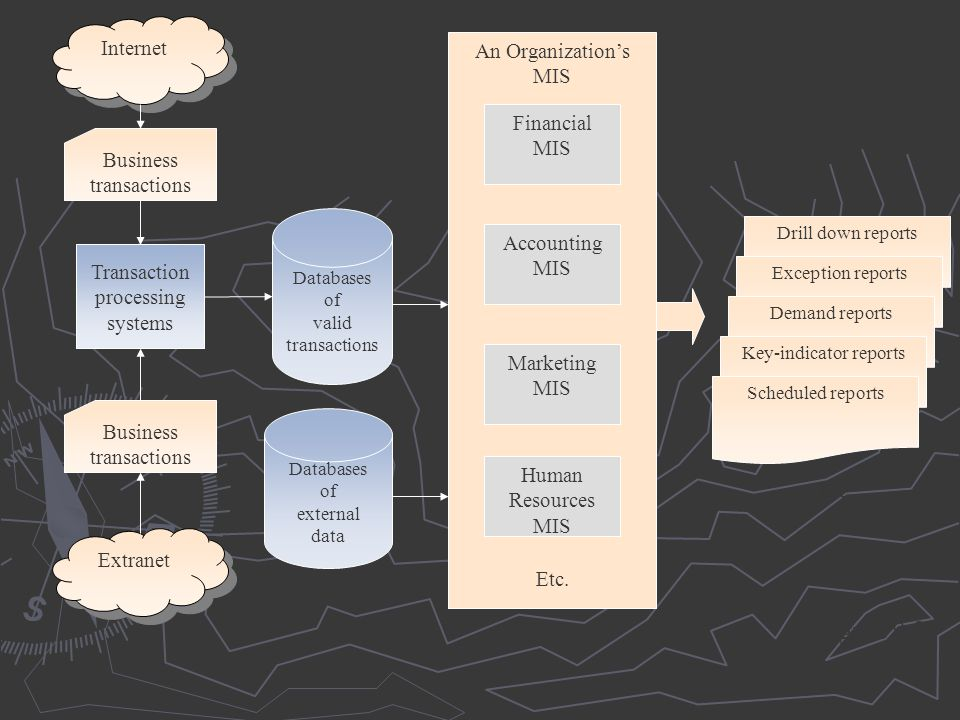 Figure 9.3 Internet An Organization's MIS Financial MIS