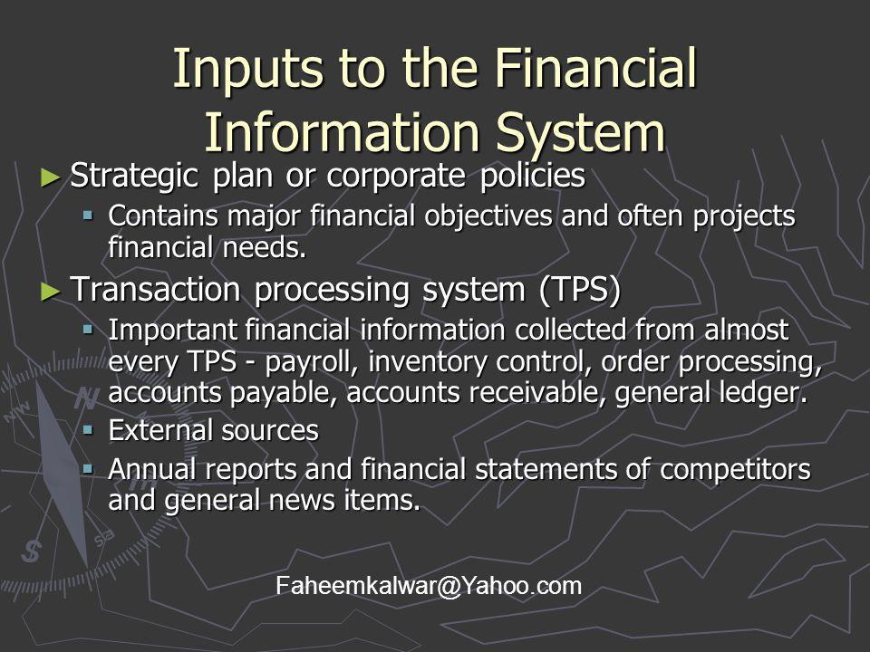 Inputs to the Financial Information System