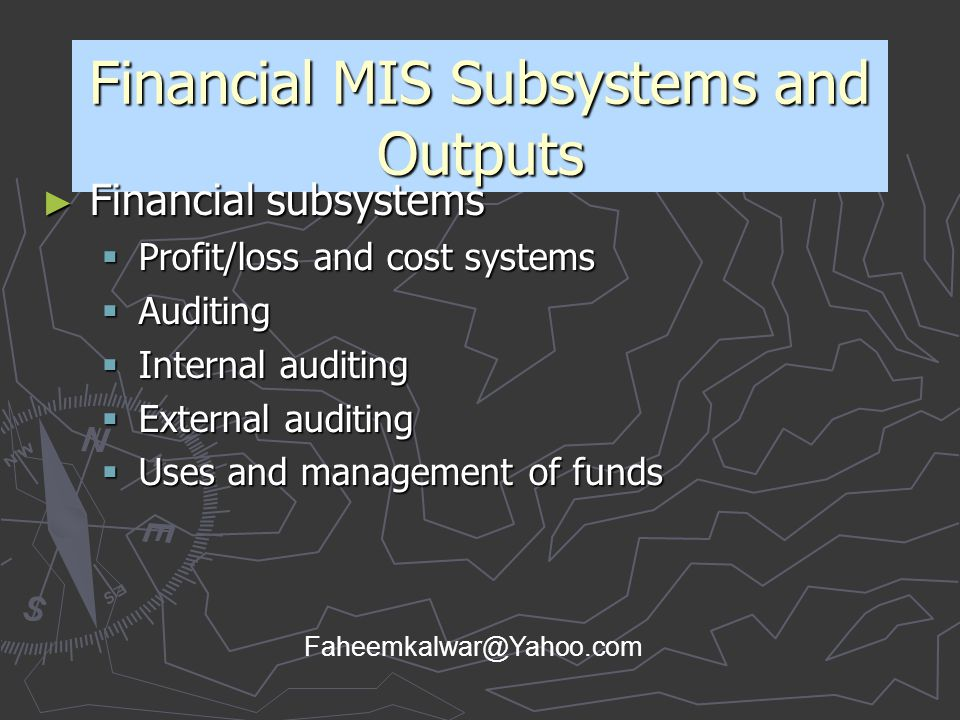 Financial MIS Subsystems and Outputs