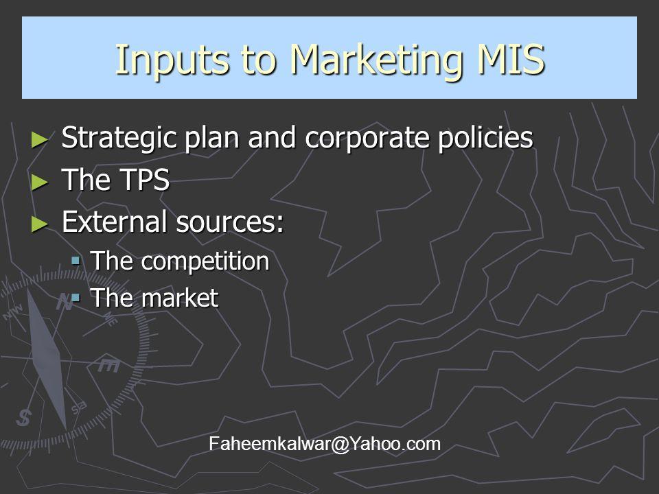 Inputs to Marketing MIS