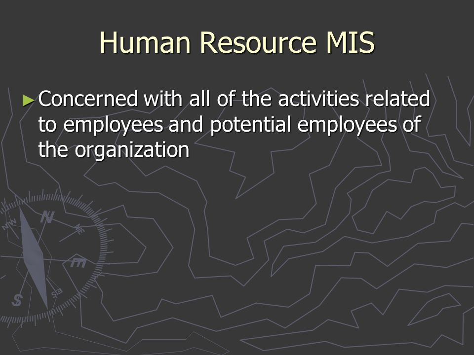 Human Resource MIS Concerned with all of the activities related to employees and potential employees of the organization.