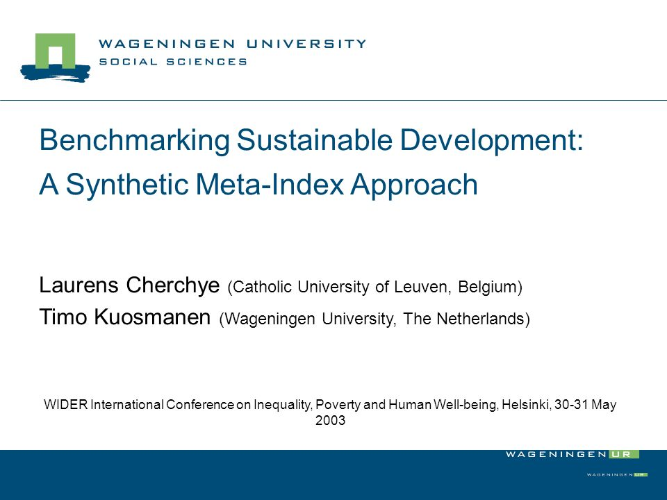 Benchmarking Sustainable Development: A Synthetic Meta-Index Approach