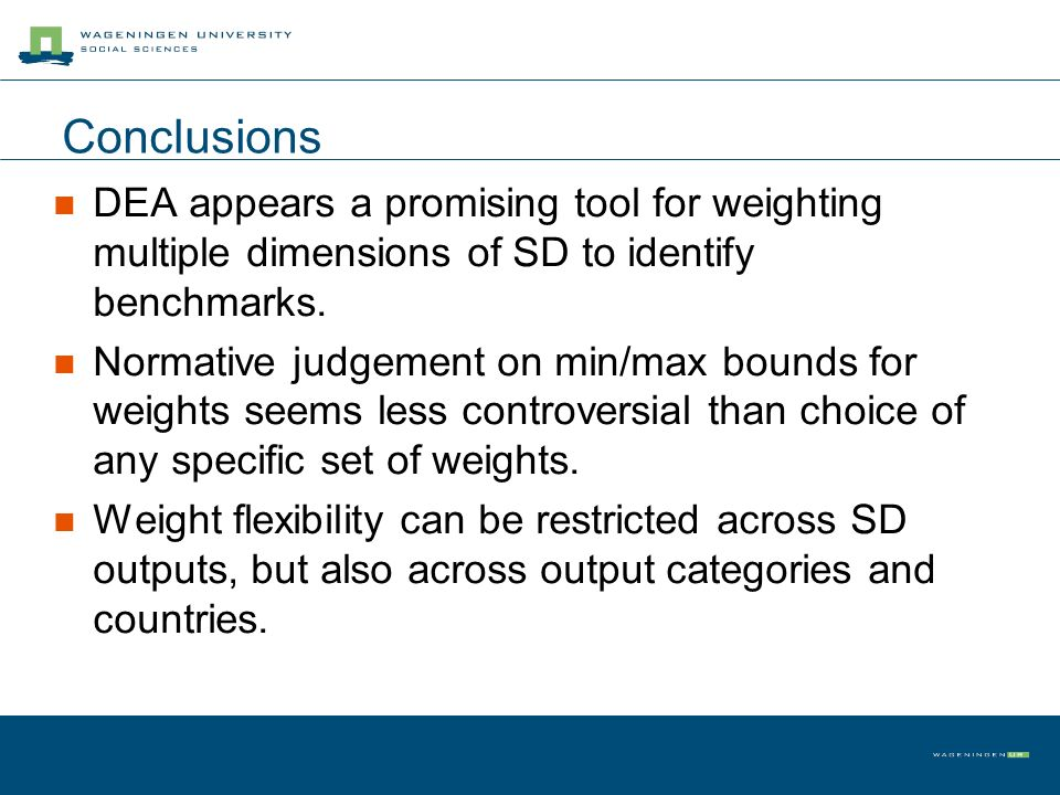 Conclusions DEA appears a promising tool for weighting multiple dimensions of SD to identify benchmarks.