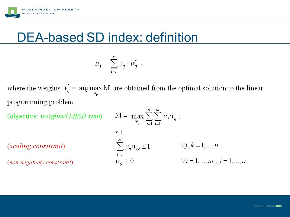 DEA-based SD index: definition