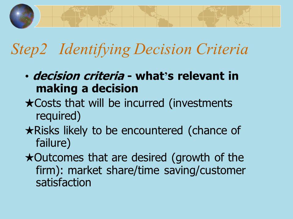 Step2 Identifying Decision Criteria