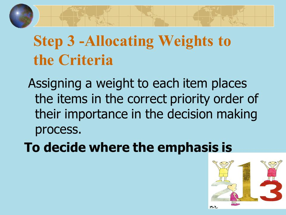 Step 3 -Allocating Weights to the Criteria