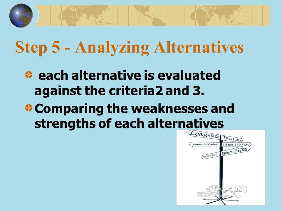 Step 5 - Analyzing Alternatives