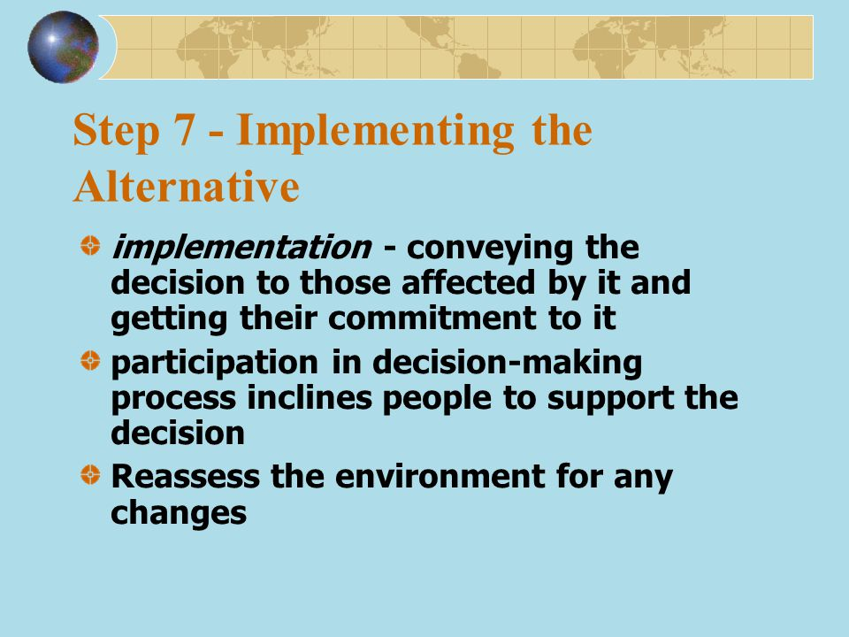 Step 7 - Implementing the Alternative