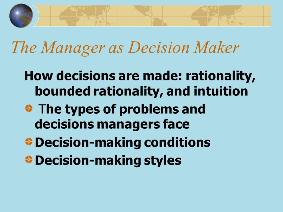 The Manager as Decision Maker