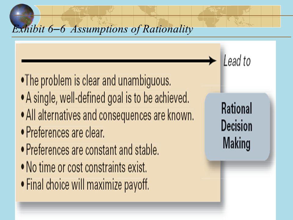 Exhibit 6–6 Assumptions of Rationality