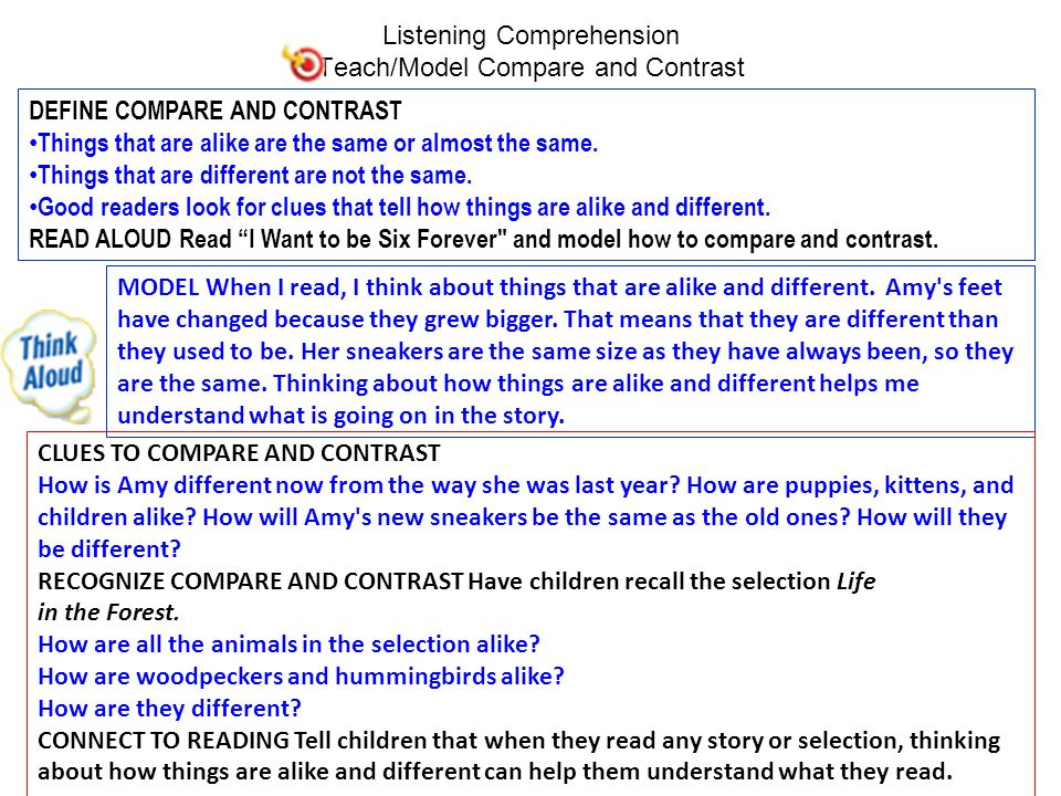 Listening Comprehension Teach/Model Compare and Contrast