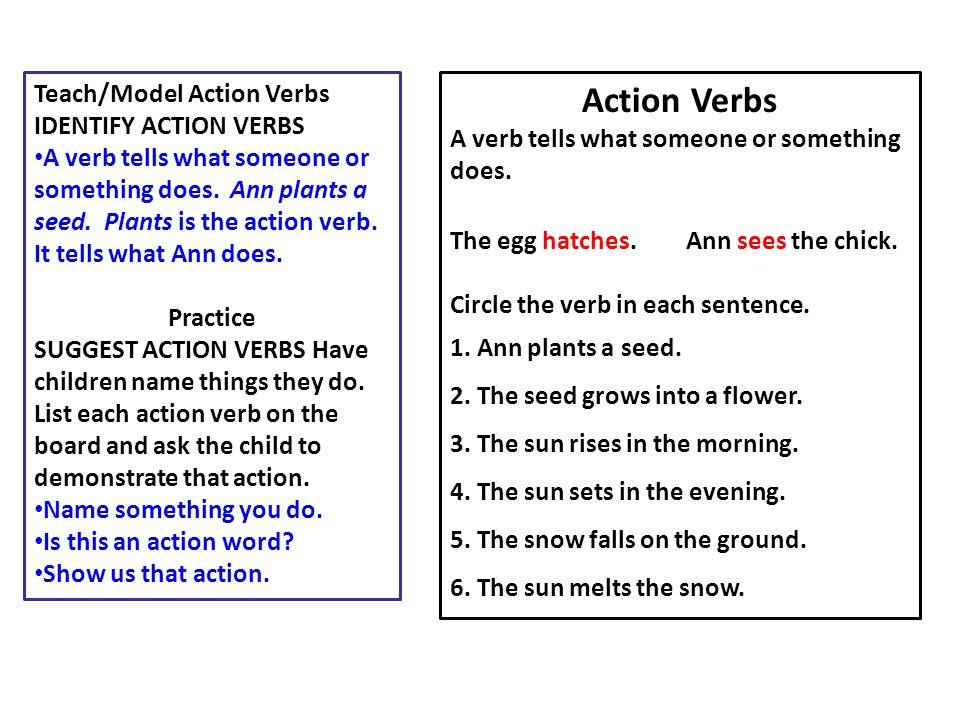 Action Verbs Teach/Model Action Verbs IDENTIFY ACTION VERBS