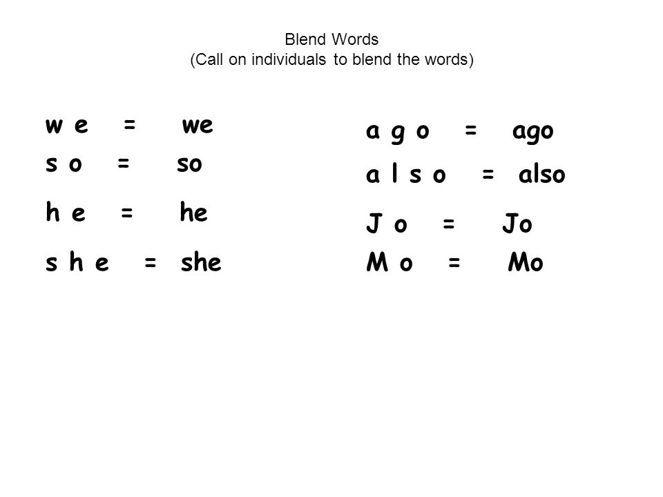 Blend Words (Call on individuals to blend the words)