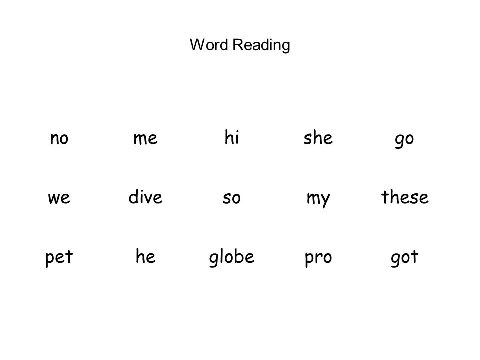 Word Reading no me hi she go we dive so my these pet he globe pro got