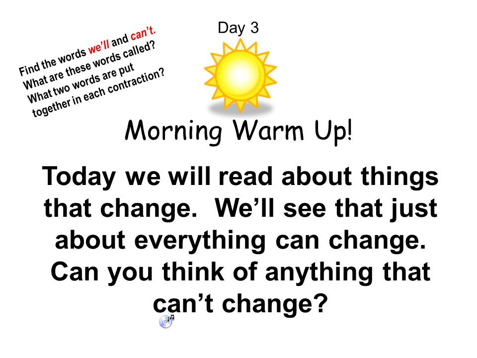 Day 3 Find the words we'll and can't. What are these words called What two words are put together in each contraction