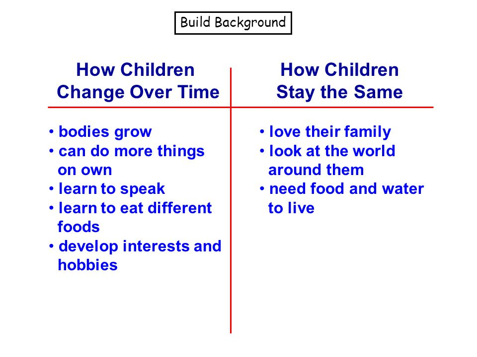 How Children Change Over Time How Children Stay the Same