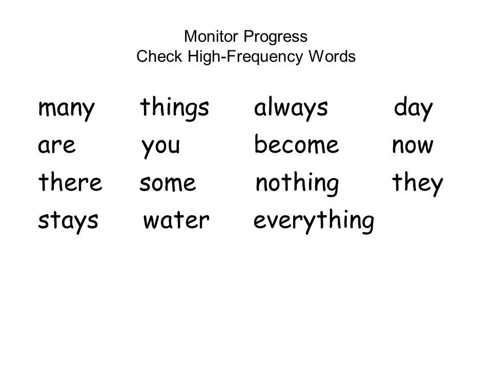 Monitor Progress Check High-Frequency Words