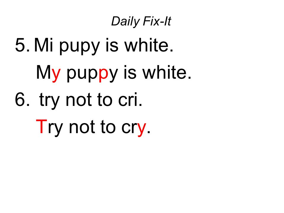 Mi pupy is white. My puppy is white. try not to cri. Try not to cry.