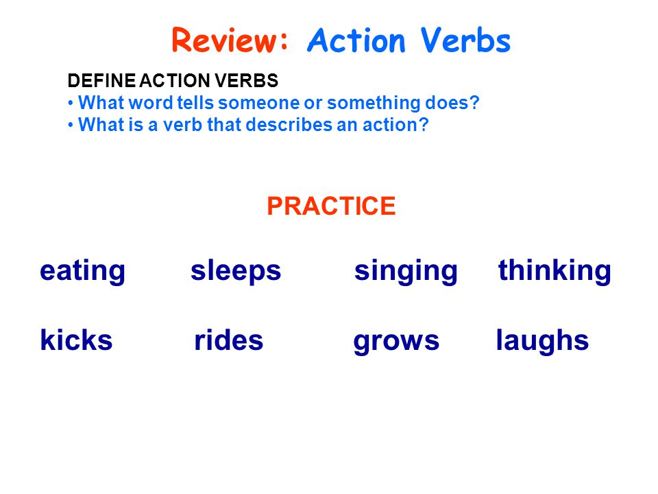Review: Action Verbs eating sleeps singing thinking
