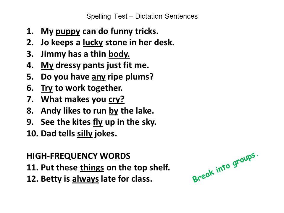 Spelling Test – Dictation Sentences
