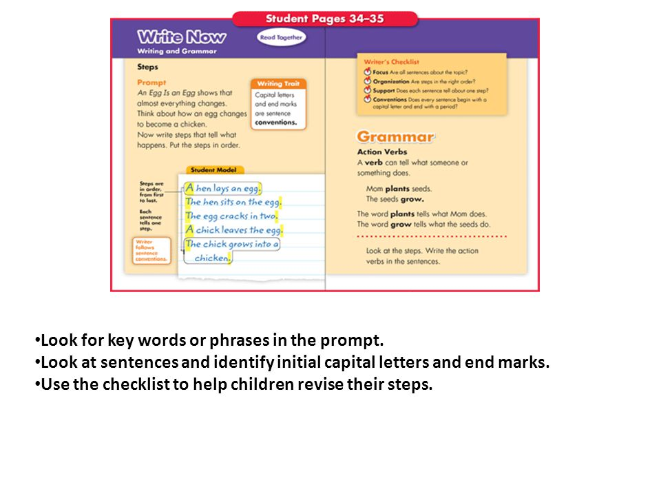 Look for key words or phrases in the prompt.