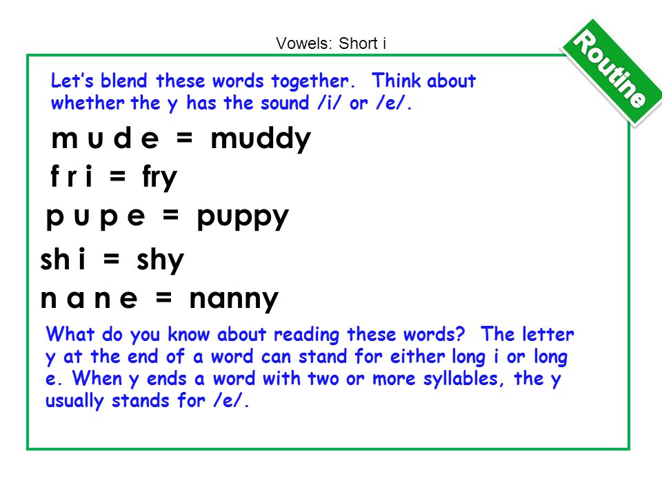 m u d e = muddy f r i = fry p u p e = puppy sh i = shy n a n e = nanny