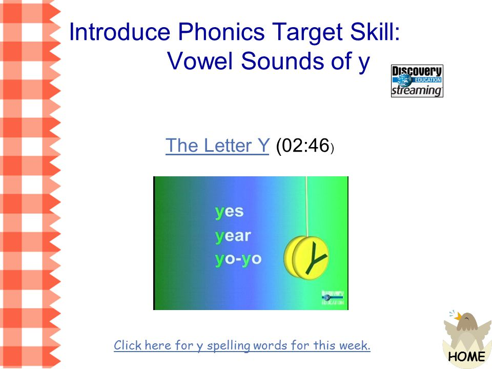Introduce Phonics Target Skill: Vowel Sounds of y