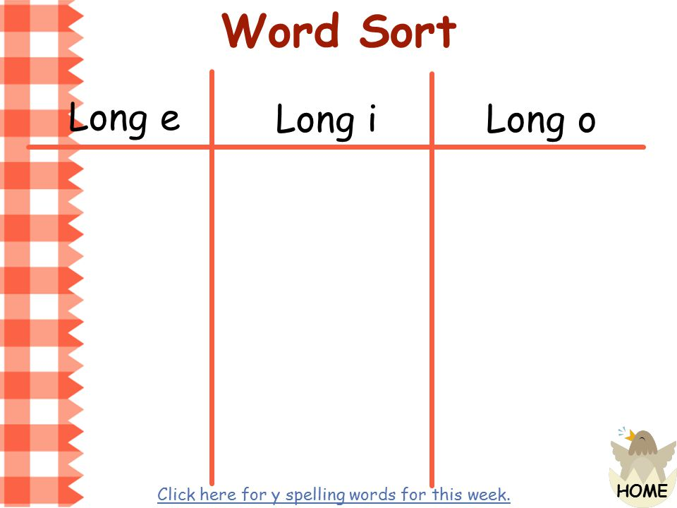 Word Sort Long e Long i Long o