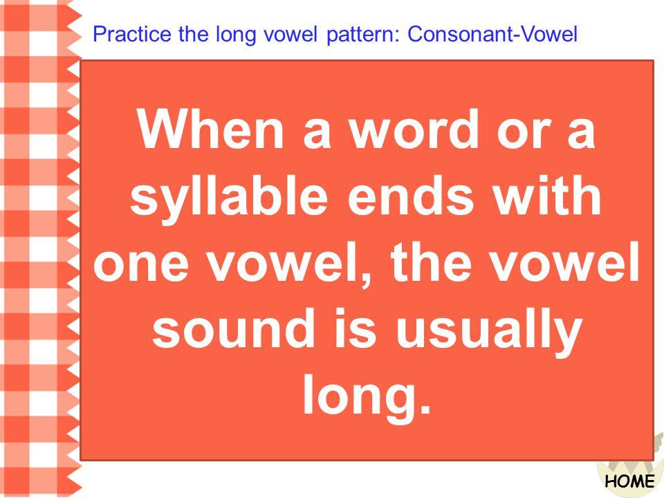 Practice the long vowel pattern: Consonant-Vowel